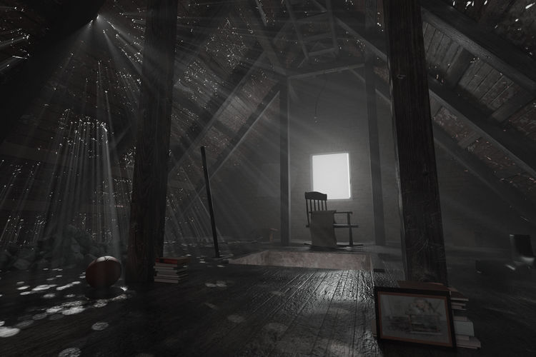 darken empty attic with aged stuff and light rays through holes Attic Architecture Light Rays Abandoned Leave Volumetric Light Dark Architecture Stuff Pictures Holes Damaged Wet Window Roof Dramatic Mystical Aged Wooden
