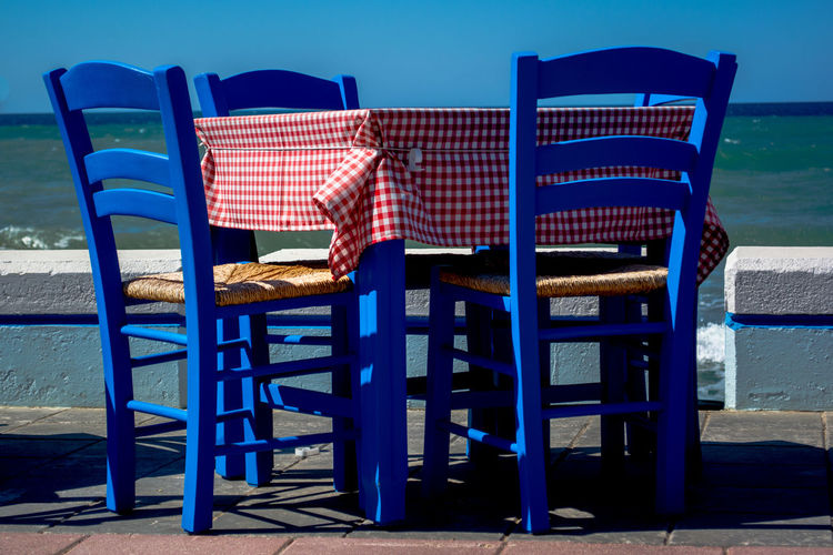 Blue Chair Chairs Chairs And Tables Outdoors Sea Seaon Summer Table Tablecloth