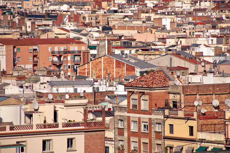 High angle view of buildings in city, barcelona