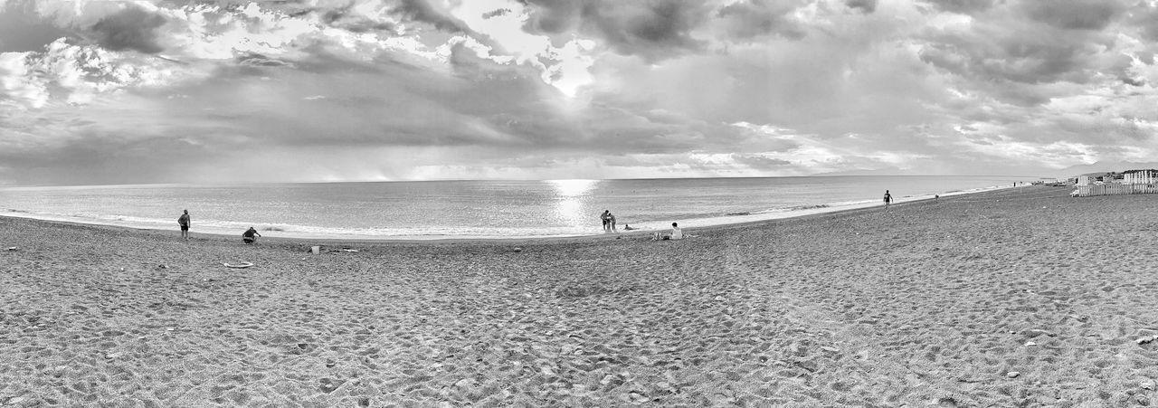 Outside now Seaside Beaches Of The World Beach Photography Beach View Beachlife Myhumanstory Shore Shorelines Panoramic Photography Panoramic Photo Blackandbeach Blackbeach Calabrian Coastline