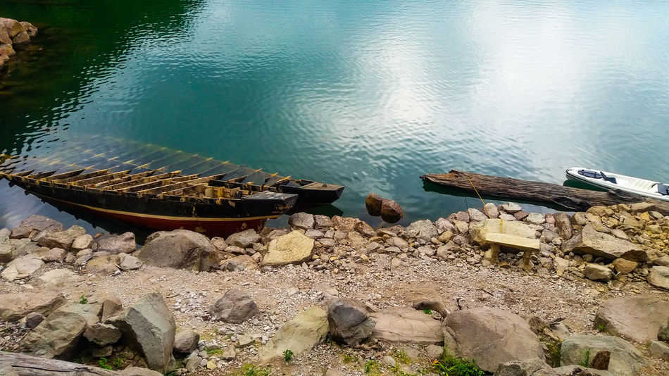 Water Nature Lake Outdoors Nautical Vessel Day No People Sunken Boat Sunken Boat In A Lake Sunken Old And Broken Water Reflections Calm Water Reflections Solitude And Silence Tranquility Beauty In Nature Fragility Peacful Philippines