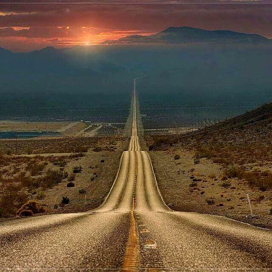 Death Valley Death Roud Nationalpark California USA USA Photos USAtrip Canon California Love Deathvalley Sand Desert No Life Concrete Road Road Trip America Nature_collection Summer Summertime Sunset Sunset_collection Orange Sky Sun Behind Clouds