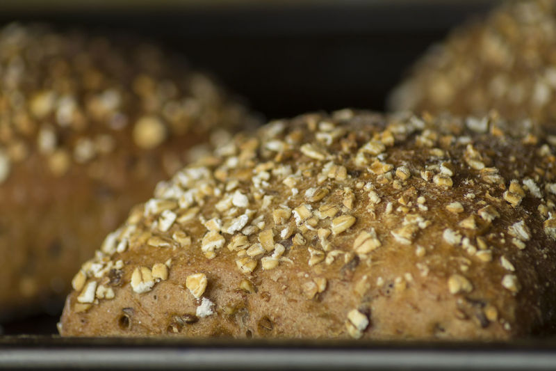 Close-up of breads in oven