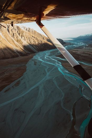 Horizon Over Water Sea Motion Nature Sky Power In Nature Tranquil Scene Beauty In Nature No People Scenics Landscape Nature Outdoors Aerial View Travel Destinations Day Mountain Airplane Window New Zealand Braided River