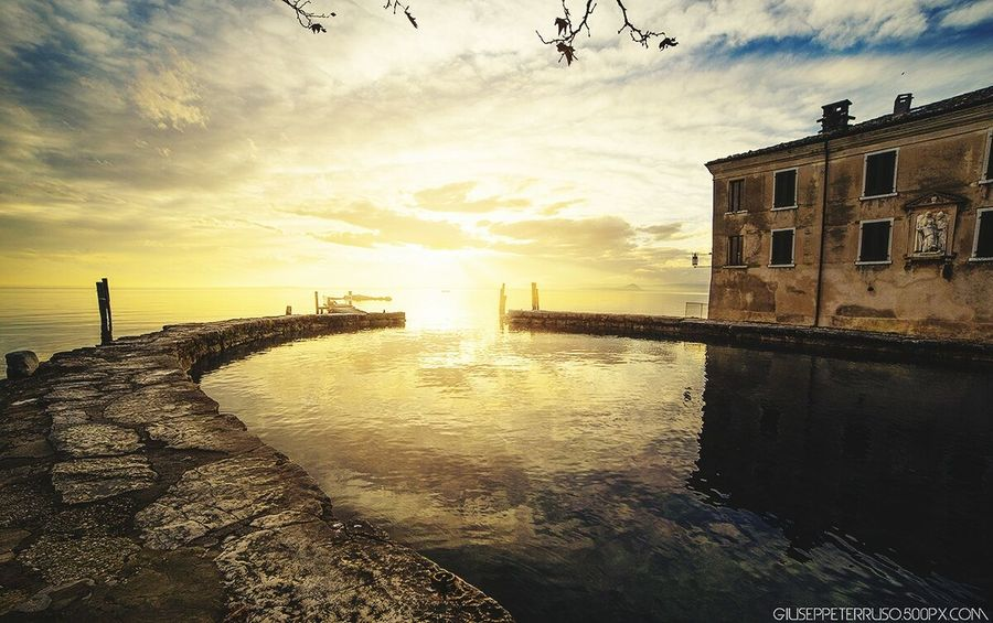 How's The Weather Today? Sunset Sunny Day Cloudy Day Lake Garda Lake Of Garda Pier Winter Landscape