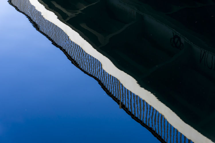Reflection of bridge in water of Spree River Berlin City Germany 🇩🇪 Deutschland Horizontal Reflection Spree River Berlin Blue Sky Bridge Color Image Day Diagonal Lines No People Outdoors Water Waves