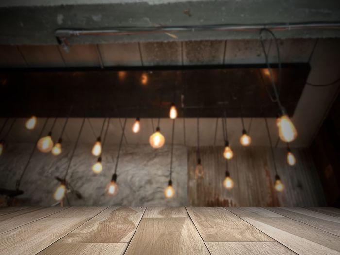 Surface level of illuminated lights on ceiling