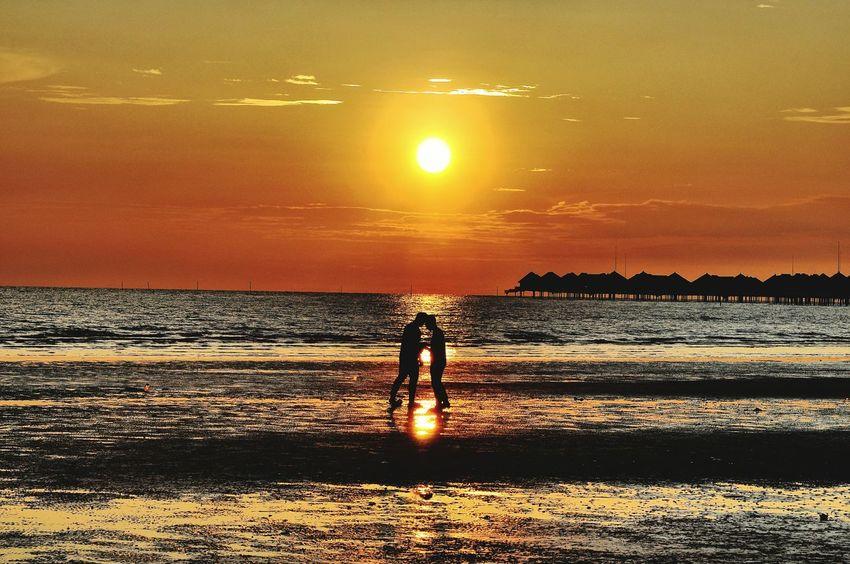Water Sea Sunset Beach Standing Men Sandy Beach