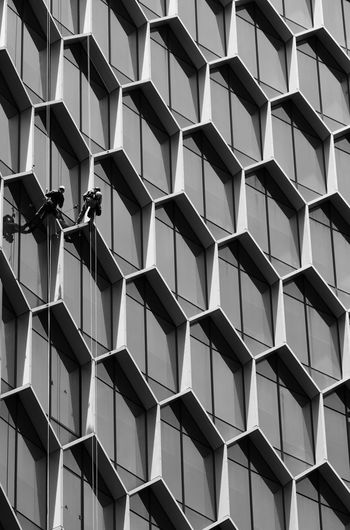 Low angle view of people cleaning windows of building