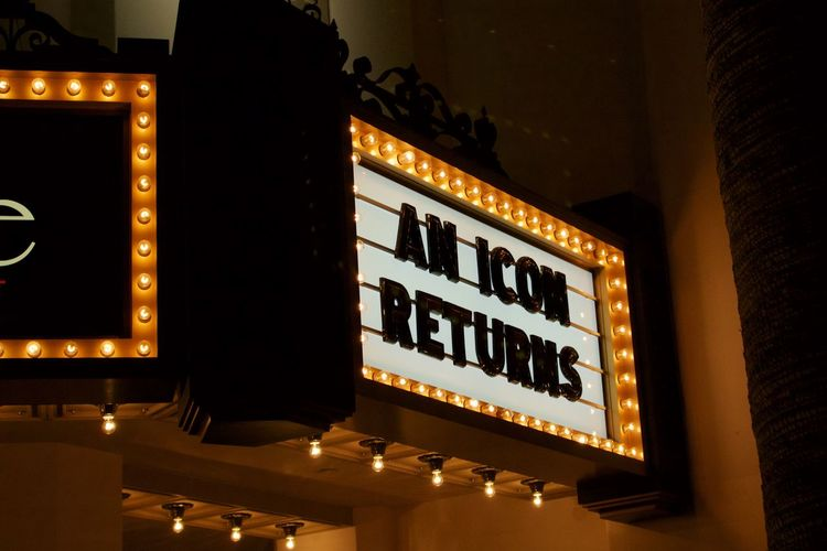 Always nice when icons return. Arts Culture And Entertainment Illuminated Marquee Marquee Theater Night Nightlife No People Text