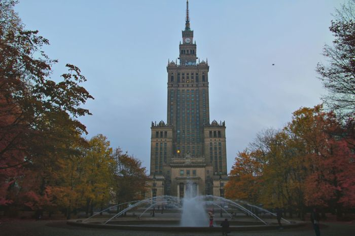 Autumn Clock Tower Landscape Outdoors Palace Of Culture And Science In Warsaw Sky Trees And Sky Warsaw