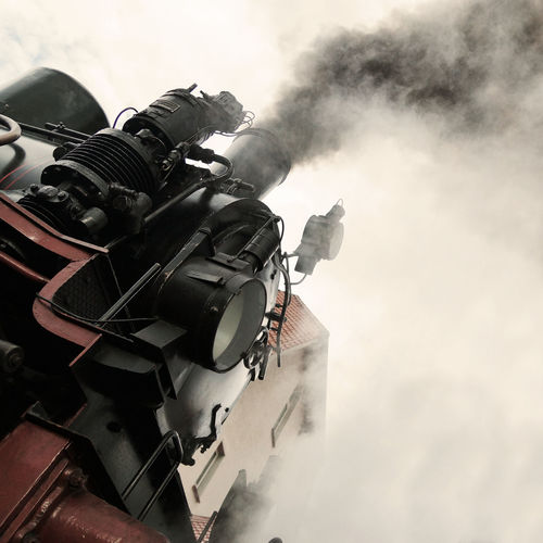 Steam Power Ancient Close-up Cloud - Sky Cloudy Day Engineering Historic Historical Low Angle View No People Nostalgia Nostalgic  Power Powerful Railroad Railway Reliable Sky Steam Steam Engine Steam Locomotive Steam Train Strength Technology Tilt