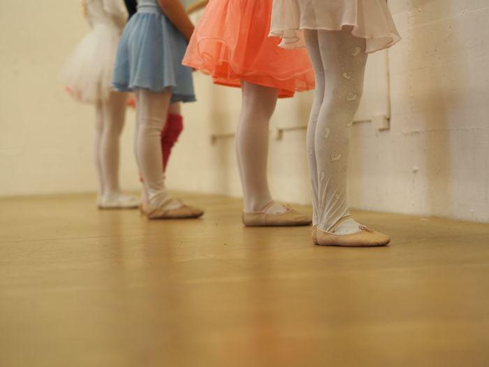 Low Section Of Ballet Dancers Dancing On Floor