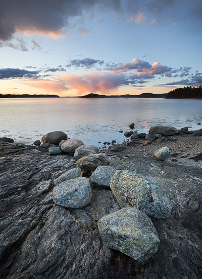 Sunset by the sea Rock Sky Water Beauty In Nature Cloud - Sky Scenics - Nature Tranquil Scene Tranquility Beach Nature Rocky Coastline Sunset Sea Ocean View Ocean Nature Photography