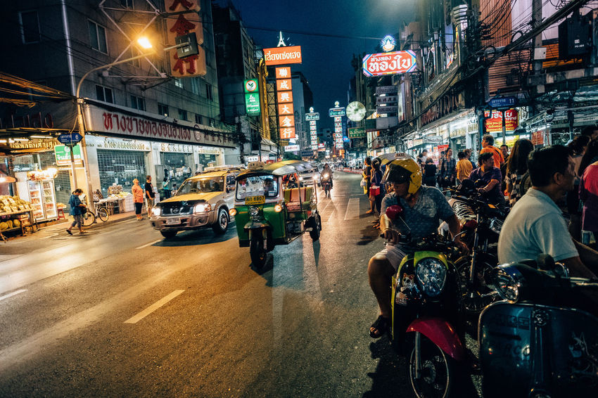 Chinatown Bangkok Adult Architecture Building Exterior Built Structure City City Life City Street Crowd Illuminated Land Vehicle Large Group Of People Men Mode Of Transport Motorcycle Neon Night Outdoors People Real People Road Street Transportation Travel Destinations