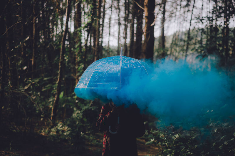Smoke in the blue. Tree Forest Land Plant Real People Blue Nature One Person Women Lifestyles Day Umbrella Protection Smoke Color Smoke Focus On Foreground Woman Portrait WoodLand Holiday