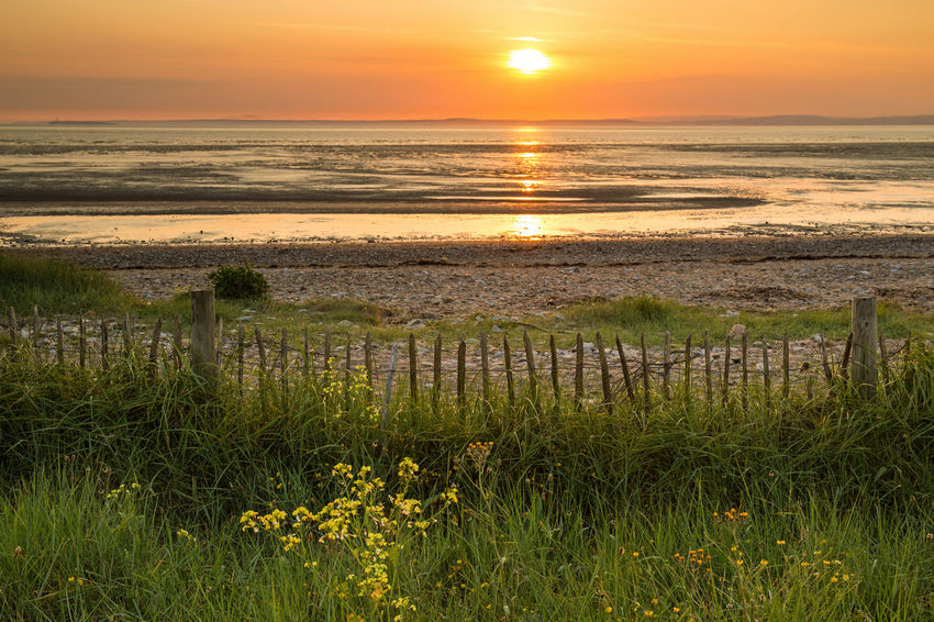 Beach Photography Sand Bay Somerset England Beach Beauty In Nature Dusk Grass Growth Horizon Horizon Over Water Idyllic Nature No People Orange Color Outdoors Plant Scenics - Nature Sea Sky Sun Sunset Tranquil Scene Tranquility Water Wooden Post