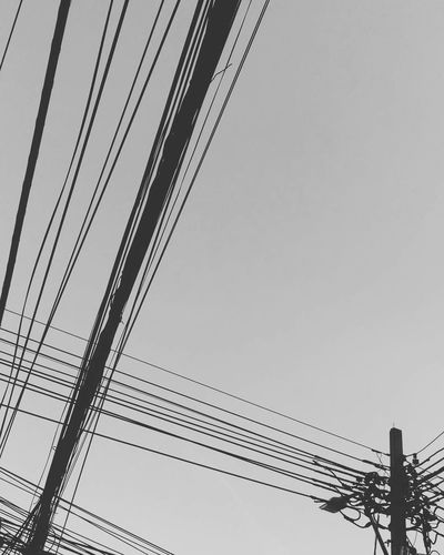 #blackandwhite #cables #electricity #industrial #minimalist #minimalistic #wires Clear Sky Connection Day Low Angle View No People Outdoors Sky