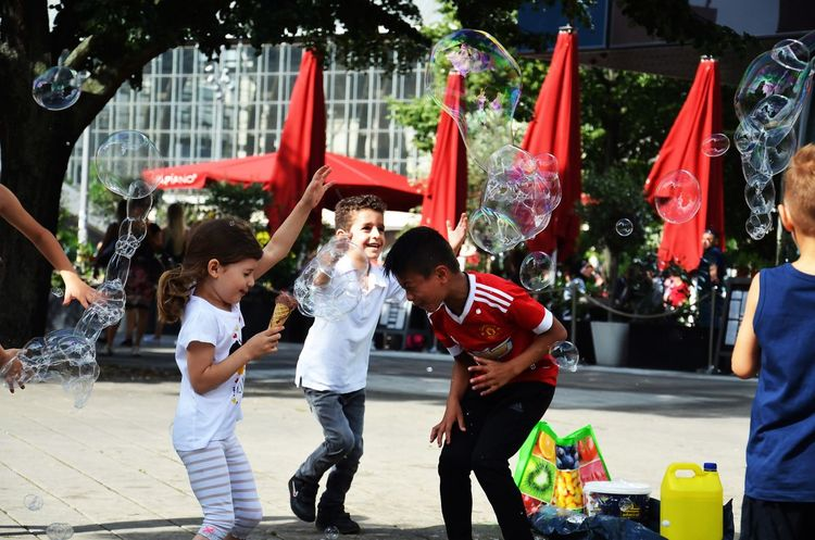 Childhood Happiness Child Smiling Street Day Fun Togetherness Playing