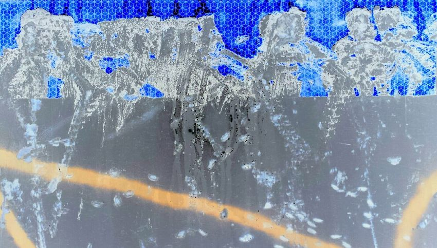 Backgrounds Blue Full Frame Close-up Window No People Water Wet Hygiene Textured  Day Nature Indoors  Frosted Glass Train Graffitiart Reflections ☀ Last Supper Original Artwork
