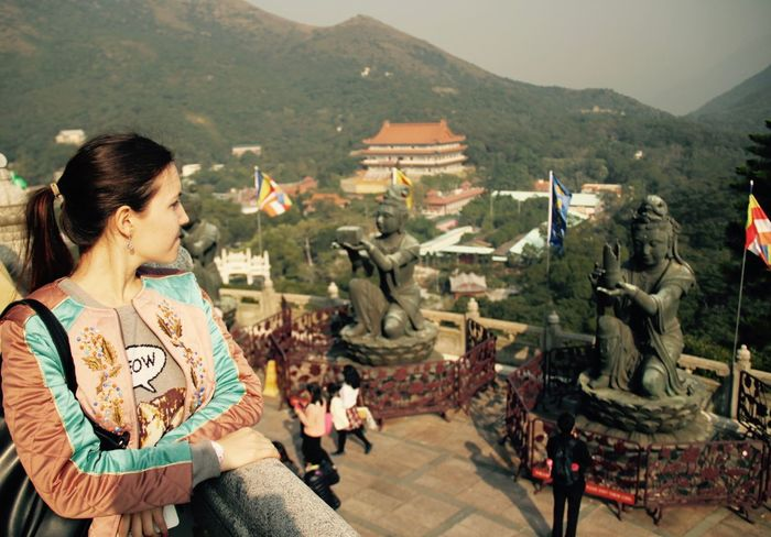 Architecture Big Buddha Day Hong Kong HongKong One Person Outdoors Place Of Worship Sculpture Statue Young Adult Young Women