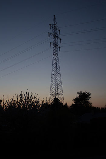 Cable Clear Sky Connection Day Electricity  Electricity Pylon Fuel And Power Generation Landscape Low Angle View Nature No People Outdoors Power Line  Power Supply Silhouette Sky Sunset Technology Tree