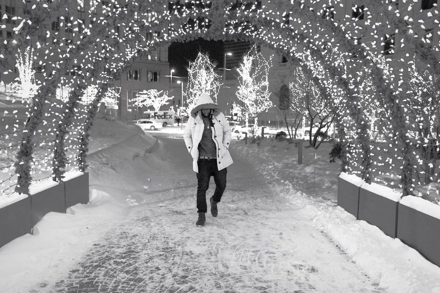 Admire the moments in front of you Undrvfted Photography Freelance Life Full Length One Person Architecture Built Structure Real People Tree Christmas Decoration Christmas Outdoors Adults Only People Day Adult Canonphotography EyeEmNewHere Clevelandphotographer Music Blackandwhite B&w Downtown Jacket Front View One Man Only Welcome To Black