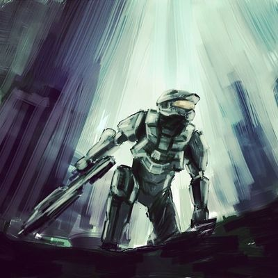 HALO4よりマスターチーフ。厚塗り練習。 Illustration Dorwing Halo4 Master Chief