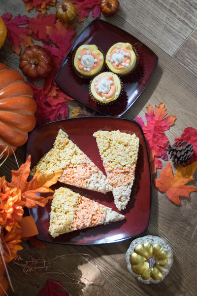 Autumn Dessert Autumn Candy Corn Close-up Day Decoration Directly Above Fall Flower Food Food And Drink Freshness Healthy Eating High Angle View Indoors  Leaves No People Plate Pumpkin Ready-to-eat Table Treat Unhealthy Eating Variation