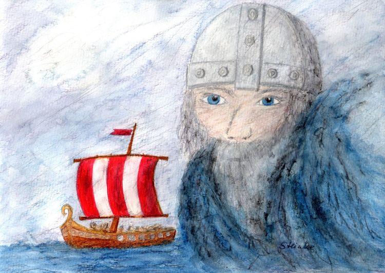 Wikinger etwas verändert, gefiel mir vorher nicht so richtig... North Northsea Viking Vikings  Viking Ship Ocean Art ArtWork Dream Kunst Aquarell Aquarellpencil Blue Wave Blue Storm Nordmann Nordmeer