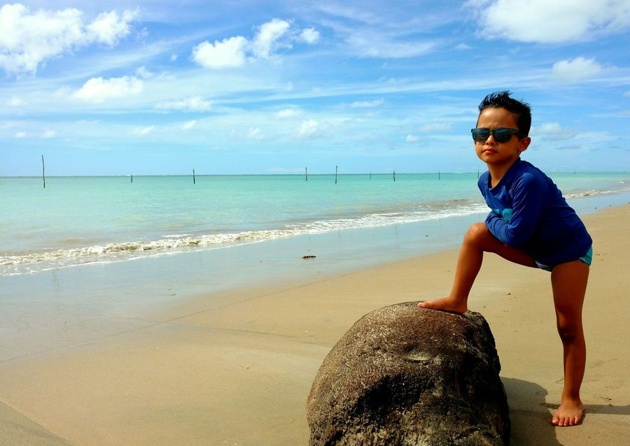 Praia de Maragogi..... Beach Sea One Person Water Sky Vacations Horizon Over Water Cloud - Sky Sand One Boy Only People Childhood Standing Beautiful People Boys Summer Day Child Children Only Full Length Nature Maragogi - AL Alagoas Brazil Brasil Be. Ready. EyeEmNewHere