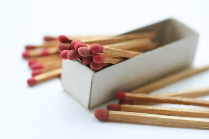 Matches in box on white background Box Flame Isolated Sticker Sticking Out Tongue Backgrounds Close Up Danger Fire Flamable Macro Matches Matchstick Symbol White White Background Wood - Material