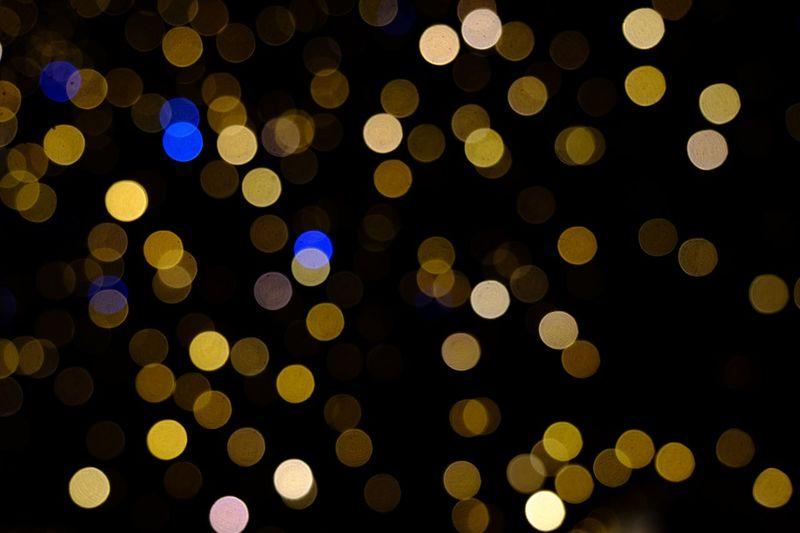 Bokeh Circle Geometric Shape Night Shape Illuminated Large Group Of Objects No People Backgrounds Defocused Pattern Decoration Design Lighting Equipment Lens Flare Yellow Black Background Celebration Abundance