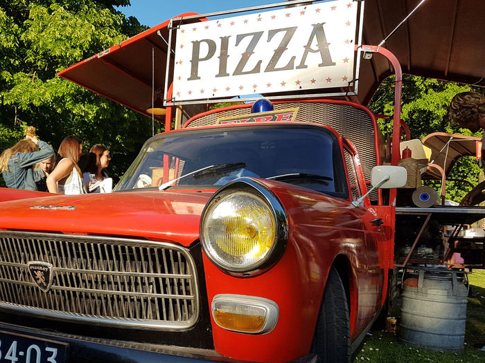To be honest... I don't like pizza 😁 Transportation Outdoors Mode Of Transport Day Festival Season Festival Dordrecht Lepeltje Lepeltje Food Pizza Time Red Car Foodtruck Peugeot EyeEmNewHere