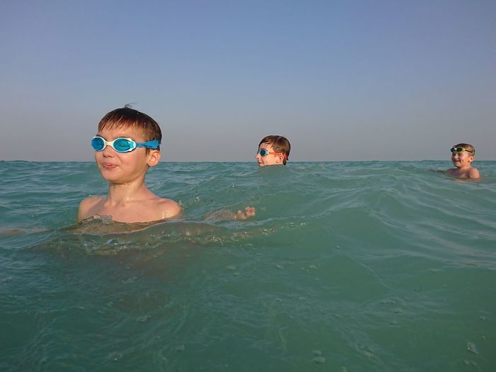 Arabian Gulf Beach Qatar XPERIA Swimming Water Child Childhood Portrait Swimming Pool Boys Togetherness Males  Summer Swimming Goggles Tourist Resort