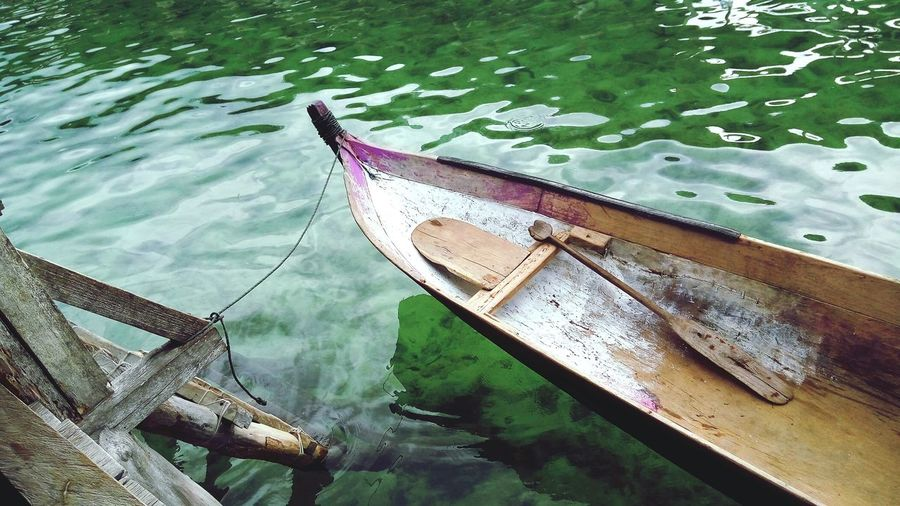 Ocean Suku Bajo Water Nautical Vessel Moored Waterfront Reflection High Angle View Swimming Pool Wet Rippled Boat Water Vehicle Sailing Boat Gondola Mooring Post Gondola - Traditional Boat Standing Water First Eyeem Photo