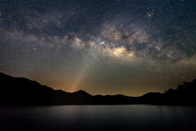 Beautiful landscape mountains and lake in the night with Milky Way background, Chiang mai , Thailand Astronomy Beauty In Nature Galaxy Idyllic Lake Landscape Milky Way Mountain Nature Night Scenics - Nature Sky Space Star Star - Space Tranquility Water