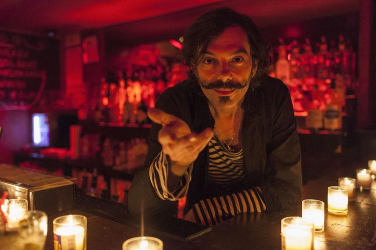 Portrait of man in restaurant