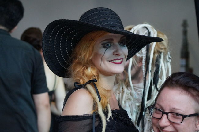 Blond Hair Fashion Show Focus On Foreground Front View Goth Gothic Style Happiness Hat Headshot Lifestyles Long Hair Mera Luna Festival People Portrait Real People Smiling Two People Women Young Adult Young Women