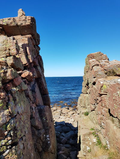 Landscape Landscape_Collection Landscape_photography Sweden Baltic Sea Hovs Hallar Beauty In Nature Bildfolge Photography Summer Sky Blue Water Sea Clear Sky Beach Blue Cliff Rock - Object Rock Formation Sky Rocky Coastline Geology Physical Geography Natural Landmark Coastline Natural Arch