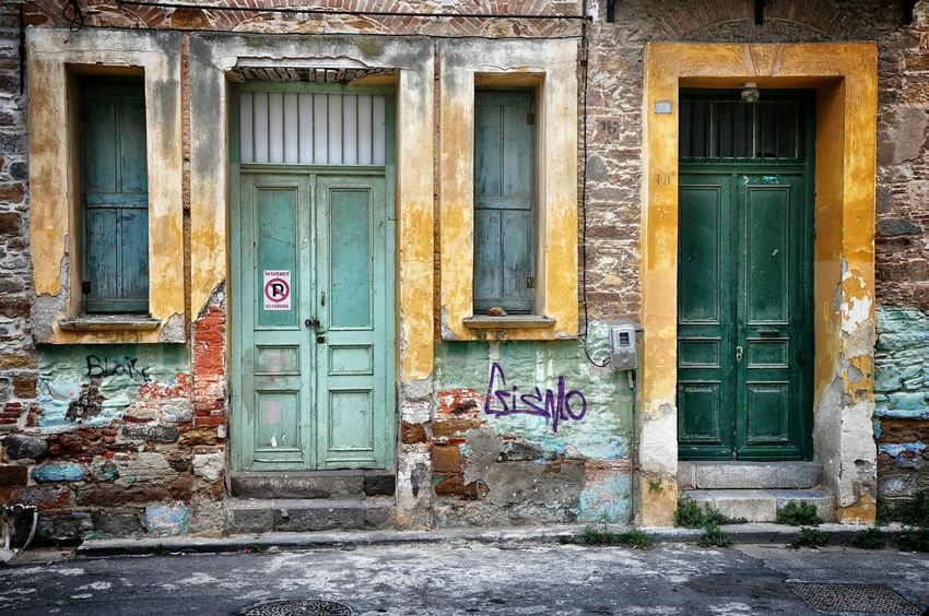 Here Belongs To Me Neighborhood Streetphotography Street Color Photography Street Colors Building Exterior Textures And Surfaces Window Door Windows Doors Old Buildings From Where I Stand Taking Photos Street Photography Old House My City Walking Around Walking Around The City  - Chios Greece Greek Islands Greece