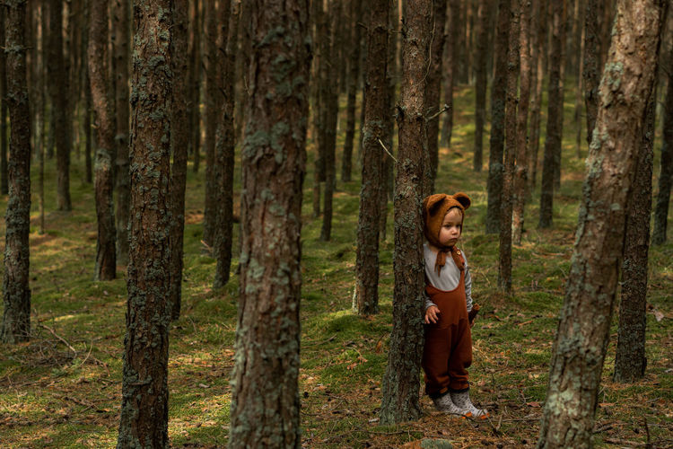 Toddler baby boy in bear bonnet standing in the woods