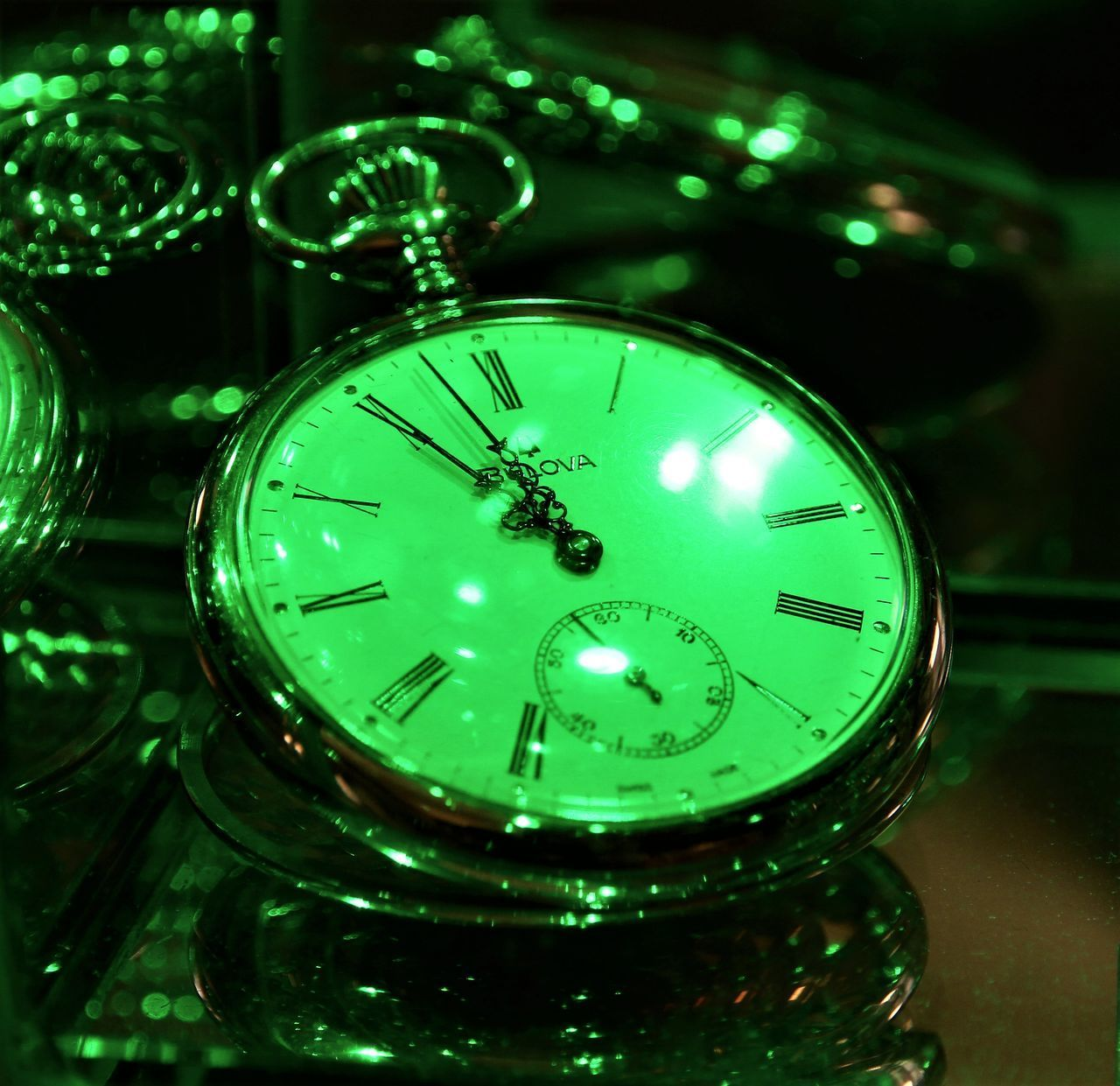 illuminated, green color, close-up, indoors, no people, night, time, clock