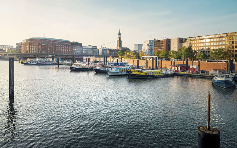 Hamburg Elbe River and city panorama Architecture Water Nautical Vessel Built Structure Building Exterior Sky City Waterfront Travel Travel Destinations Cityscape No People Building Day Outdoors River Passenger Craft Tourism Nobody Panorama City Landmark
