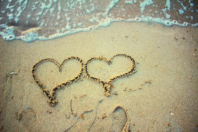 Sand Drawing Beach Sand Hearts Heart Drawing Two Two Hearts My Year My View