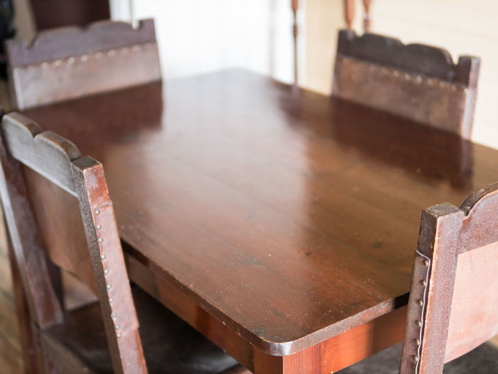 Close Up Of Wooden Table And Chairs On Table