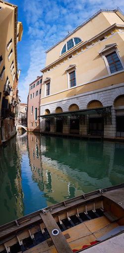 Gran Teatro La Fenice Curved Lines Canals Reflections And Shadows Reflections In The Water Panoramic Views Vertical Panorama Boats Water Reflection Day No People Outdoors Sky Architecture