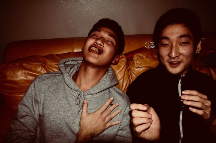 Drunk Drunk Nights Bonding Boys Casual Clothing Friendship Front View Happiness High Angle View Indoors  Leisure Activity Night People Portrait Real People Smiling Togetherness Two People Waist Up Young Adult Young Men