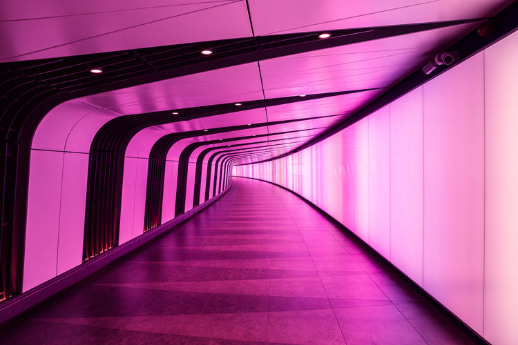 Lightwall tunnel in London Architecture Futuristic Illuminated Modern Pink Space Age Tunnel Vanishing Point
