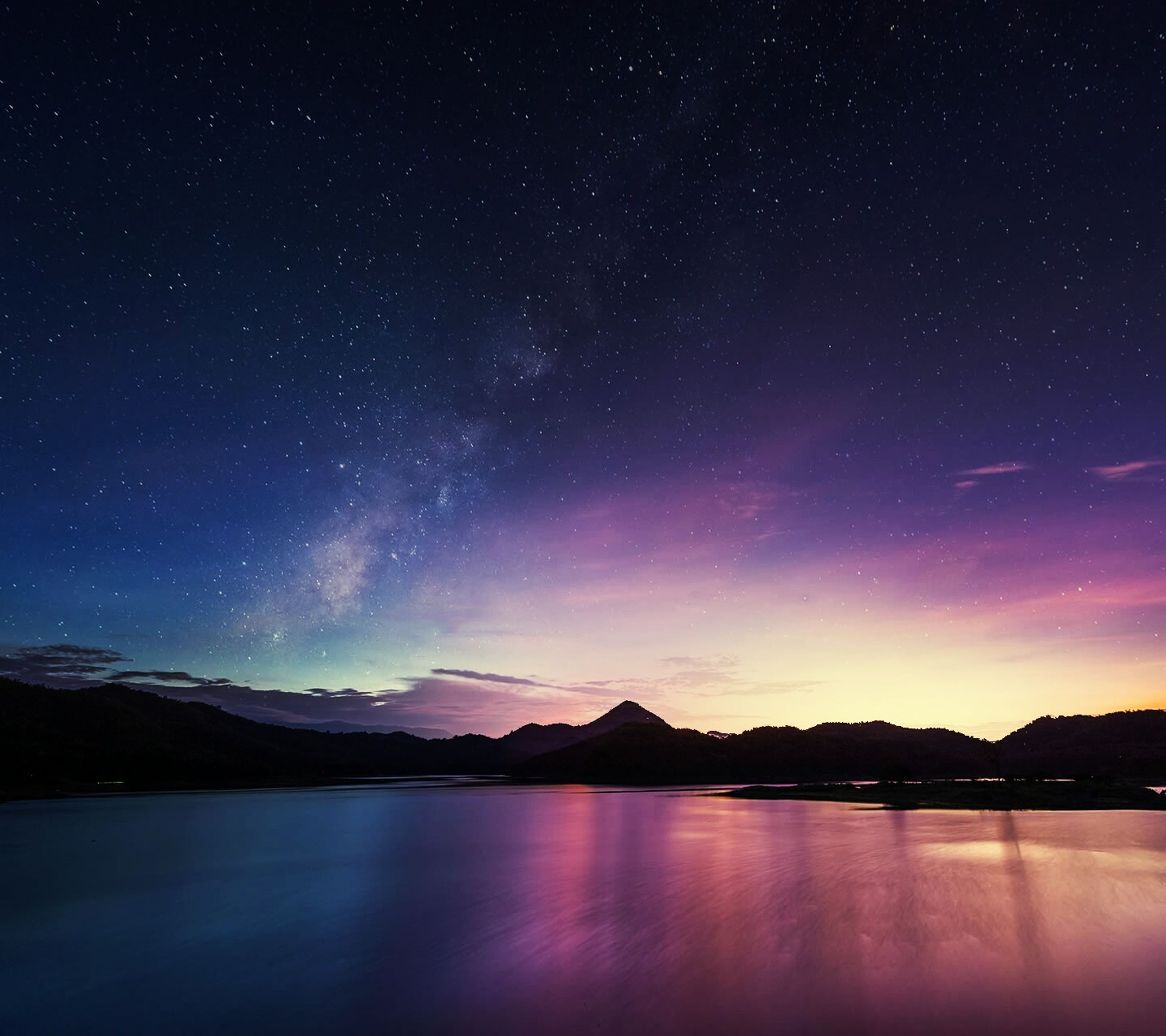 night, scenics, tranquil scene, star - space, tranquility, beauty in nature, star field, astronomy, sky, nature, idyllic, mountain, water, galaxy, majestic, star, space, lake, mountain range, reflection